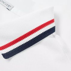 Buy the Moncler Knit Collar Tricolour Tipped Polo in White from leading mens fashion retailer END. - only Fast shipping on all latest Moncler products Polo Vest, Mens Polo T Shirts, Mens Sweatshirts, Men's Polo, Polo Shirt Design, Polo Design, Polo Shirt Style, Nautical Shirt, Collar Designs