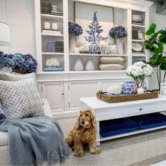 Hamptons style living room, blue and white art prints Home Living Room, Living Room Designs, Living Room Decor, Hamptons Style Decor, Hamptons Bedroom, Boho Home, Blue Rooms, White Decor, White Art