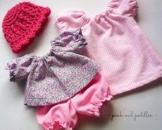 Doll Clothes Set for 10 inch Doll Waldorf or Other Baby Dolls - Peasant Top, Bloomers and Nightgown and Wool Crocheted Hat