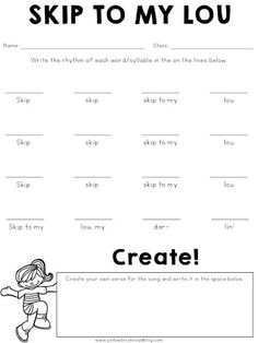 Free worksheet for Skip to My Lou. Great lesson ideas for the elementary music classroom.