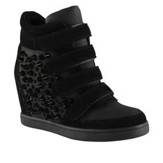 eb6af7d4a9e Aldo Hightop Wedge Sneaker Black Aldo Wedge Sneakers with Adjustable Velcro  straps and spike embellishments