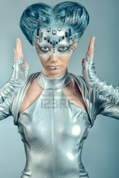 Picture of Shot of a futuristic young woman. stock photo, images and stock photography. Futuristic Makeup, Futuristic Costume, Retro Futuristic, Futuristic Design, Dystopian Fashion, Cyberpunk Fashion, Space Fashion, Fashion Art, Maquillage Sf