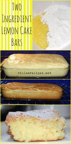 A quick and easy recipe that only calls for 2 ingredients. These bright lemon cake bars are light and fluffy and can be topped with powdered sugar. Keep angel food cake mix and a can of lemon pie filling in your pantry so you can make this dessert at any Cake Mix Desserts, Cake Mix Recipes, Lemon Desserts, Lemon Recipes, Easy Desserts, Angel Food Cake Desserts, Drink Recipes, Lemon Cake Bars, Lemon Cake Mixes