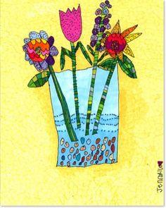 JennyLU's Giclee 11x14 Art Print 'A Vase Full of Funky by JennyLU