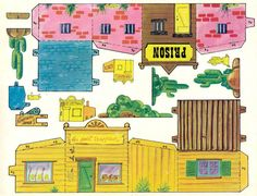Miniature Printables - Old West Buildings. Paper Doll House, Paper Houses, Paper Toys, Paper Crafts, Diy Crafts, Cartoon Town, Dover Coloring Pages, Free Paper Models, Magic Treehouse