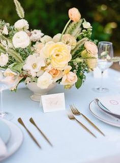 From Florida to California This Shoot Combines The Best of Both Coasts! Wedding Dinner, Wedding Reception, Wedding Tables, Wedding Ideas, Yellow Wedding, Floral Wedding, Wedding Flowers, Blue Centerpieces, Wedding Table Centerpieces