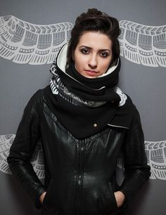 Super warm scarf for winter- Silk screened prints by Montreal Design duo Hooded Scarf, Silk Screen Printing, Sport, Hoods, Style Me, Indie, Turtle Neck, Leather Jacket, Shopping
