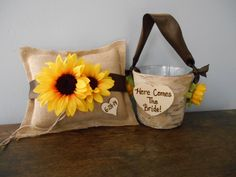 Rustic Flower Girl Basket, Burlap Ring Bearer Pillow SET Natural Birch Bark YOU CUSTOMIZE by astylishdesign on Etsy