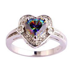 HEART OF LOVE - RAINBOW TOPAZ, GEMSTONE, SILVER RING