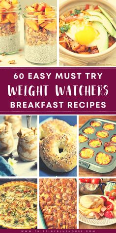 Add these easy, simple and delicious Weight Watchers breakfast recipes to your meal plan this week. Weight Watchers Lunches, Weight Watchers Breakfast, Weight Watcher Dinners, Weight Watchers Chicken, Delicious Breakfast Recipes, Easy Healthy Breakfast, Healthy Recipes, Breakfast On The Go, Meal Planning