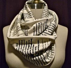 DIY idea: Harry Potter first chapter scarf. My niece would LOVE this. Possibly change the words to something from The Hunger Games.