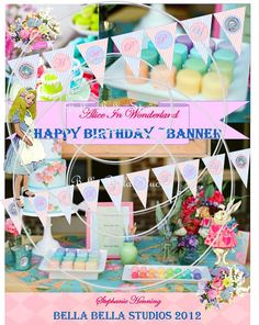 Alice in Wonderland Printable Happy Birthday Banner by Bella Bella Studios https://www.etsy.com/listing/91637653/alice-in-wonderland-inspired-printable?ref=shop_home_active_search_query=alice%2Bin%2Bwonderland