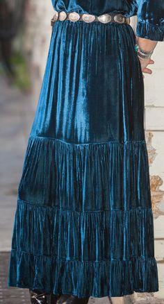 "silk velvet skirt, modern Navajo style, 36"" long, four graduating tiers, deep sapphire in color"