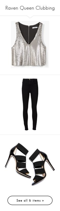 """""""Raven Queen Clubbing"""" by lizzie-b-203 ❤ liked on Polyvore featuring tops, silver, zip top, v-neck top, mango tops, spaghetti-strap top, white v neck top, jeans, pants and bottoms"""