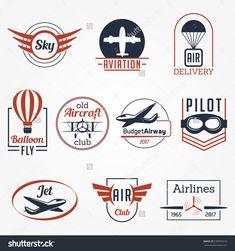 Aviation Aircraft Sky Club Vector Badges Logos Set