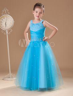 Fabulous Blue Gauze Sweetheart Sweep Train Little Girls Dress