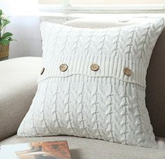 Home-organizer Tech Cotton Removable Knitted Decorative Pillow Case Cushion Cover Cable Knitting Patterns Square Warm Throw Pillow Covers, By Inch, White, Cover Pillow Insert -- Check out this great product. (This is an affiliate link) Knitted Cushion Covers, Knitted Cushions, Knitted Throws, Retro Sofa, Rustic Decorative Pillows, Decorative Pillow Cases, Knit Pillow, Cotton Pillow, Sweater Pillow