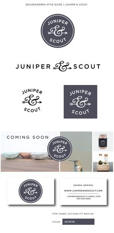Vintage vibe juniper and scout branding | arrow and ampersand logo