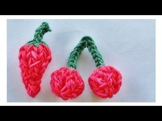 Rainbow Loom 3D CHILI PEPPER / CHERRIES. Designed and loomed by DIYMommy. Click photo for YouTube tutorial. 06/27/14.