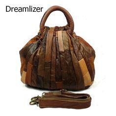 66.00$  Watch now  - Dreamlizer Women Retro Vintage Handbags Women Leather Bag Lady Shoulder Bags Designer Soft Leather Zipper Closure Female Totes