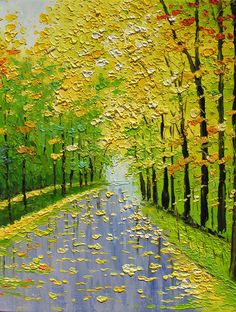 ORIGINAL Oil Painting Golden Fall 30 X 23 Palette Knife Texture Colorful Trees Landscape Gold Yellow Green Park Rain ART by Marchella. $265.00, via Etsy.