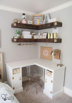 DIY Corner Shelves Free Plans by Shanty2Chic