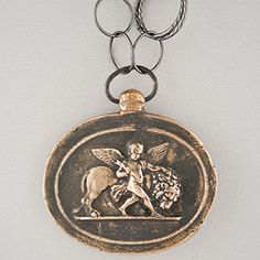 Pyrrha Design Lion and Cherub Intaglio Necklace 36''. Courage, hope, and love.