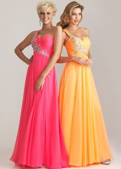 Night Moves 6737 - Hot Pink, Orange One Shoulder Evening Gown, Prom Dresses 2013 - RissyRoos.com