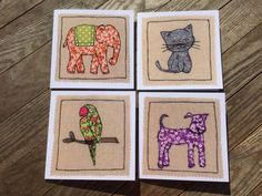 Set of 4 greeting cards generic all occasion by StitchnDoodle