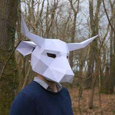 Máscara de Toro crear tu propia tarjeta reciclada por Wintercroft