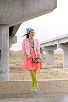 Winnipeg Style Stylist Consultant Fashion Blog, Vedette Shapewear Bessie Tropical Floral Shaping Swimsuit, Nanette Lepore last dance coral peplum houndstooth jacket blazer, Mary France Force of Nature watercolor clutch bag, River Island coral scuba neoprene flared skirt, Jacques Vert feather fascinator,John Fluevog Vanny Hi Choice turquoise white leather heels, spring 2015