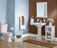 this brown is pretty dark, but I do love the brown and blue together  bathrooms-design.info