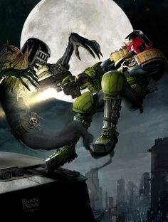 Judge Dredd vs Judge Death (by Ryanbrown-colour)