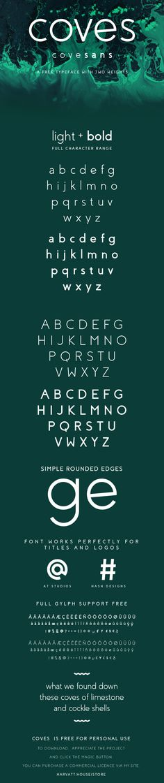 Coves is a free font featured by regular curves, ideal for titles and logo design. It includes two weights, light and bold. Designed and released by...