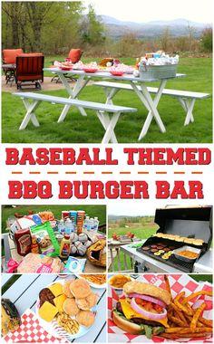 A fun baseball themed backyard BBQ idea complete with MorningStar Backyard Baseball, Backyard Bbq, Backyard Parties, Baseball Party, Baseball Caps, Burger Bar, Bbq Party, Party Planning, Fun
