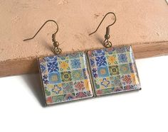 Mexican tiles replica earrings set of Mexican tiles by XTory