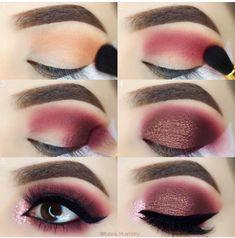 Eye Makeup Tips – How To Apply Eyeliner Red Makeup, Love Makeup, Skin Makeup, Makeup Inspo, Beauty Makeup, Maroon Makeup, Huda Beauty, Beauty Tips, Burgundy Makeup
