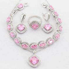 Charms Flower Pink Created Topaz Silver Color Women Jewelry Sets Necklace Pendant Drop Earrings Rings  Bracelet Christmas Gift - cubic zirconia jewelry