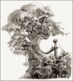 Tarzan's Tree House ~ concept art for the Tarzan Disney movie.  By John Puglisi.