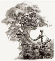 Tarzan's Tree House ~ concept art for the Tarzan Disney movie.  By John Puglisi.