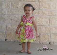 Girls boutique dress- Made to order- Size 9-12 mo, 12-18 mo, 2T, 3T, 4, 5 or 6. $35.00, via Etsy.