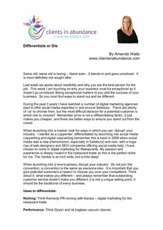 Differentiate Or Die by Amanda Watts via slideshare #health #wellness #fitness #marketing