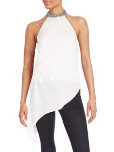 HAUTE HIPPIE Embellished-Neckline Silk Halter Top. #hautehippie #cloth #top