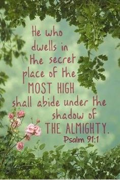 Psalm 91:1 He that dwelleth in the secret place of the most High shall abide under the shadow of the Almighty. (KJV)