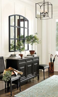 Benjamin Moore's White Dove from the Ballard Designs catalog Bedroom color ideas for black furniture Foyer Furniture, Black Furniture, Entryway Decor, Painted Furniture, Modern Entryway, Coaster Furniture, Leather Furniture, D House, Foyer Decorating