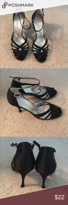Black Satin Heels Black satin strappy 👠heels with peep toe. Only wore once. Size 6.5. Shoes Heels