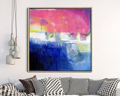 Abstrait, peinture, Art Print, impression jet d'encre, impression d'Art abstrait, Art moderne, Art contemporain, paysage abstrait, bleu rose jaune