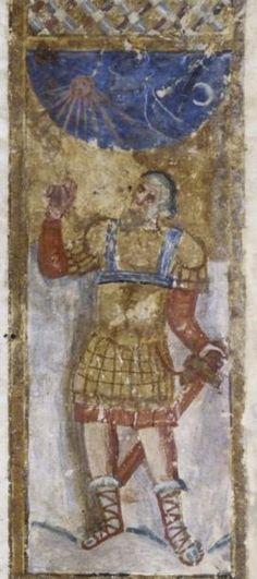 The Syriac Bible of Paris, folio 52v, Joshua stopping the stars, 7th Century