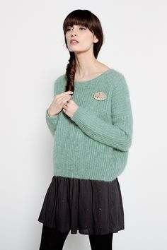 Abrinou Leaf-Print Pullover 85% Kid mohair 12% Wool 3% Polyamide - Jumper femme - Des Petits Hauts 1