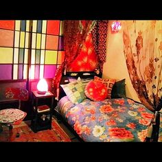 布団柄、ベッド色